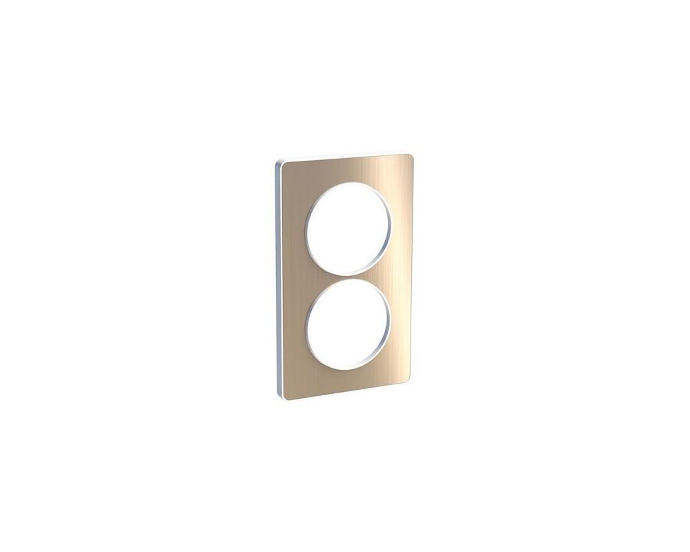 Odace Touch, plaque Bronze brossé avec liseré Blanc 2 postes verticaux 57mm - S520814L