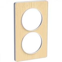 Odace Touch, plaque Bois nordique avec liseré Blanc 2 postes verticaux 57mm - S520814M