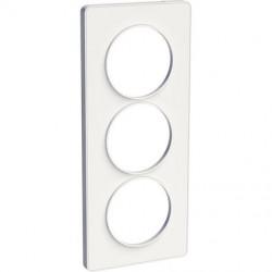 Odace Touch, plaque Blanc avec liseré Blanc 3 postes verticaux 57mm - S520816