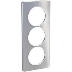Odace Touch, plaque Aluminium brossé avec liseré Blanc 3 postes verticaux 57mm - S520816J