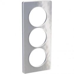 Odace Touch, plaque Aluminium martelé avec liseré Blanc 3 postes verticaux 57mm - S520816K