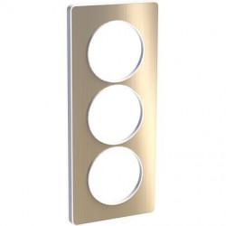 Odace Touch, plaque Bronze brossé avec liseré Blanc 3 postes verticaux 57mm - S520816L