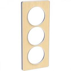 Odace Touch, plaque Bois nordique avec liseré Blanc 3 postes verticaux 57mm - S520816M