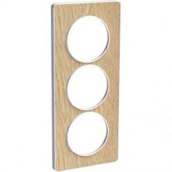 Odace Touch, plaque Bois naturel avec liseré Blanc 3 postes verticaux 57mm - S520816N