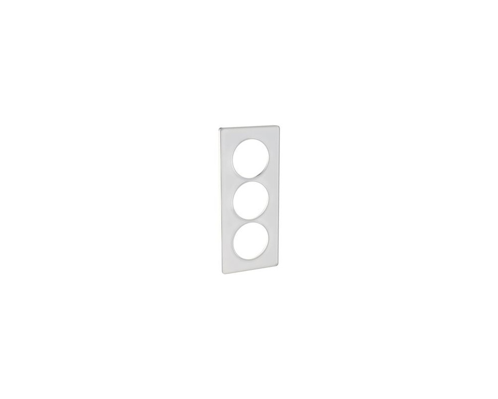 Odace Touch, plaque Translucide Blanc 3 postes verticaux entraxe 57mm - S520816R