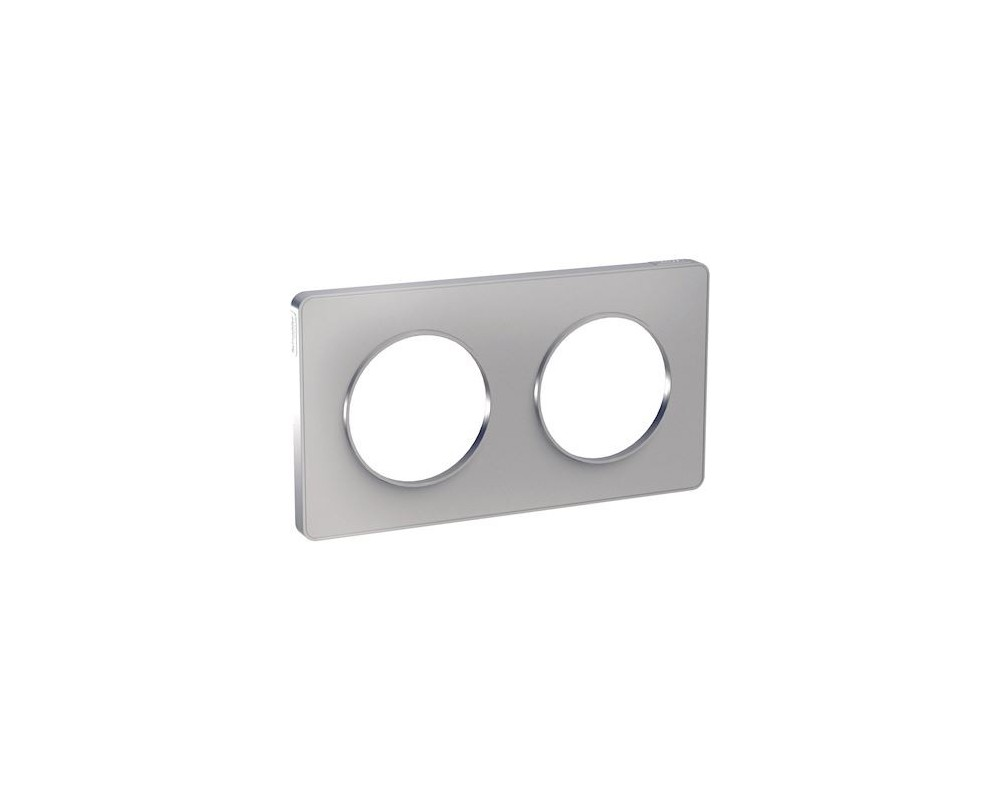 Odace Touch, plaque Alu 2 postes horiz. ou vert. entraxe 71mm - S530804