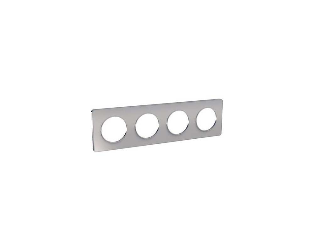 Odace Touch, plaque Alu 4 postes horiz. ou vert. entraxe 71mm - S530808
