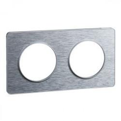 Odace Touch, plaque Aluminium brossé liseré Alu 2 post. horiz./vert. 71mm - S530804J