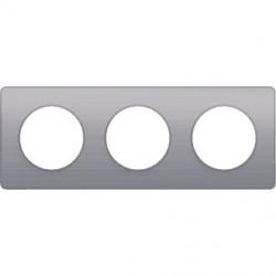 Odace Touch, plaque Aluminium brossé liseré Alu 3 post. horiz./vert. 71mm - S530806J