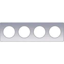 Odace Touch, plaque Aluminium brossé liseré Alu 4 post. horiz./vert. 71mm - S530808J