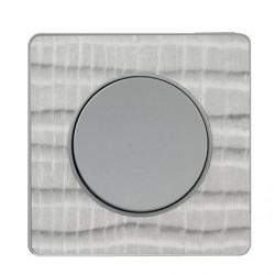 Odace Touch, plaque Aluminium brossé croco avec liseré Alu 1 poste - S530802J1