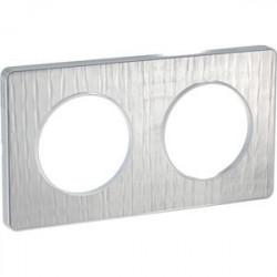 Odace Touch, plaque Aluminium brossé croco avec liseré Alu 2 postes entraxe 71mm - S530804J1