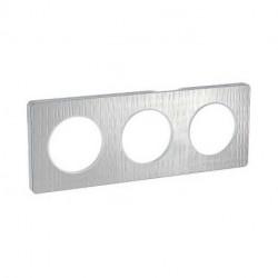 Odace Touch, plaque Aluminium brossé croco avec liseré Alu 3 postes entraxe 71mm - S530806J1
