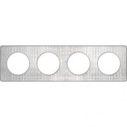 Odace Touch, plaque Aluminium brossé croco avec liseré Alu 4 postes entraxe 71mm - S530808J1