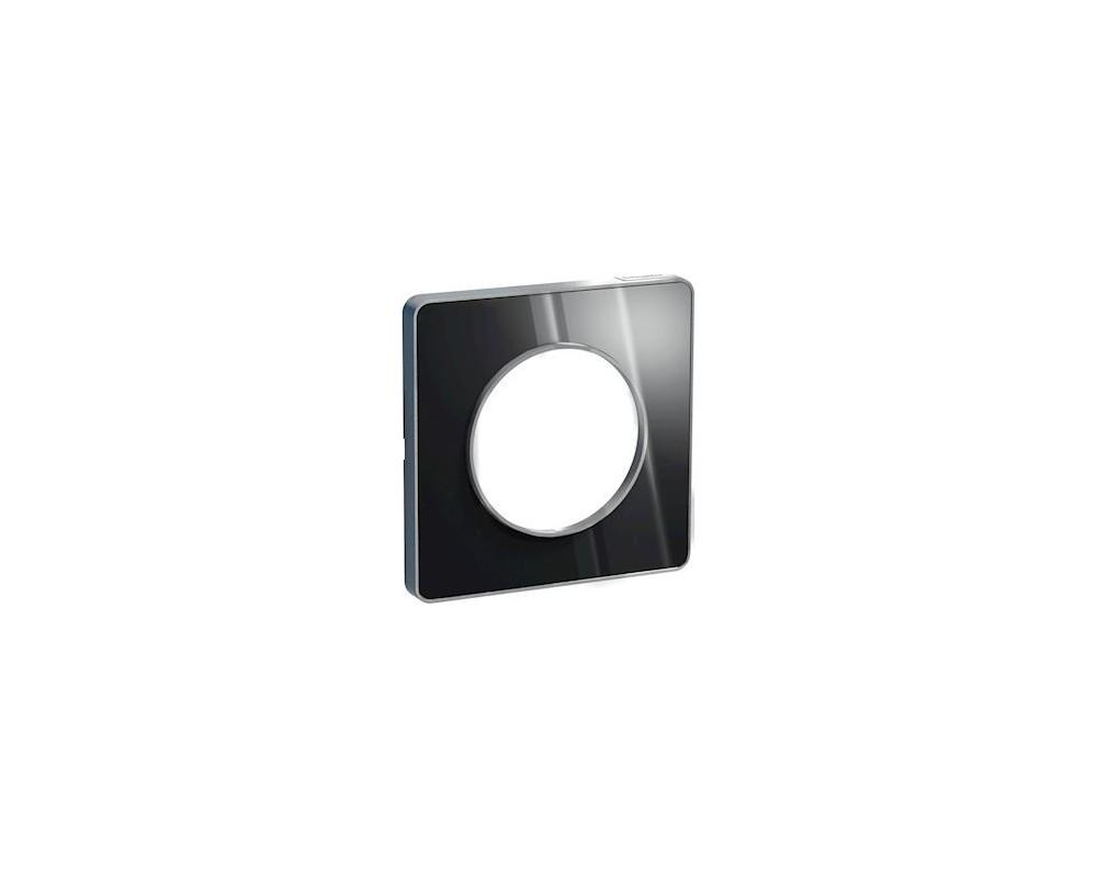 Odace Touch, plaque Aluminium brillantt fumé avec liseré Alu 1 poste - S530802K1