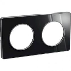 Odace Touch, plaque Aluminium brillant fumé avec liseré Alu 2postes entraxe 71mm - S530804K1