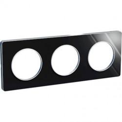 Odace Touch, plaque Aluminium brillant fumé avec liseré Alu 3postes entraxe 71mm - S530806K1