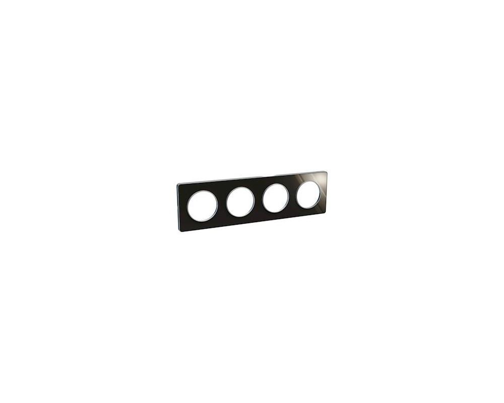 Odace Touch, plaque Aluminium brillant fumé avec liseré Alu 4postes entraxe 71mm - S530808K1