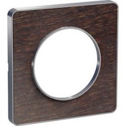 Odace Touch, plaque Wenge avec liseré Alu 1 poste - S530802P
