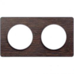 Odace Touch, plaque Wenge avec liseré Alu 2 postes horiz. ou vert. entraxe 71mm - S530804P