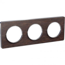 Odace Touch, plaque Wenge avec liseré Alu 3 postes horiz. ou vert. entraxe 71mm - S530806P