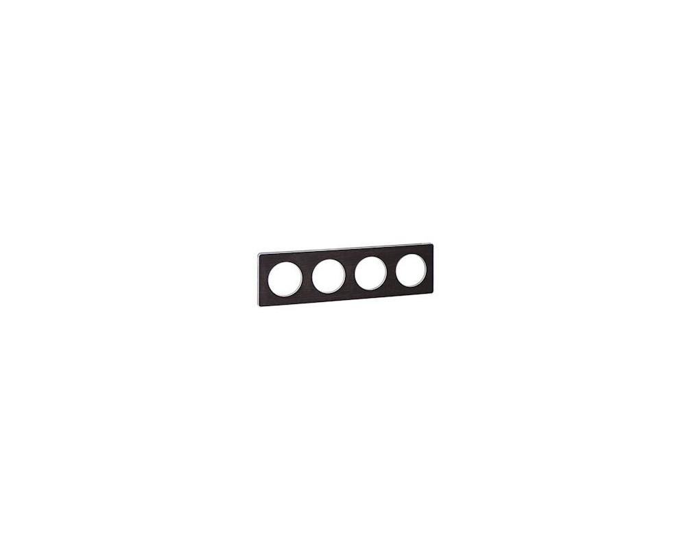 Odace Touch, plaque Wenge avec liseré Alu 4 postes horiz. ou vert. entraxe 71mm - S530808P