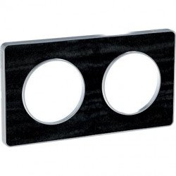 Odace Touch, plaque Chêne Astrakan avec liseré Alu 2 postes entraxe 71mm - S530804P1