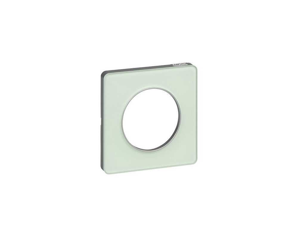 Odace Touch, plaque Translucide Verre avec liseré Alu 1 poste - S530802S