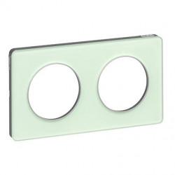 Odace Touch, plaque Translucide Verre avec liseré Alu 2 postes horiz./vert. 71mm - S530804S