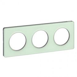 Odace Touch, plaque Translucide Verre avec liseré Alu 3 postes horiz./vert. 71mm - S530806S
