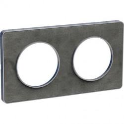 Odace Touch, plaque Ardoise avec liseré Alu 2 postes horiz./vert. entraxe 71mm - S530804V