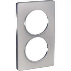 Odace Touch, plaque Alu 2 postes verticaux entraxe 57mm - S530814