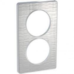 Odace Touch, plaque Aluminium brossé croco avec liseré Alu 2 postes entraxe 57mm - S530814J1