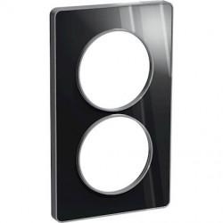Odace Touch, plaque Aluminium brillant fumé avec liseré Alu 2postes entraxe 57mm - S530814K1