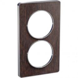 Odace Touch, plaque Wenge avec liseré Alu 2 postes verticaux entraxe 57mm - S530814P