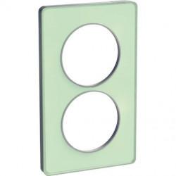 Odace Touch - plaque 2 postes - translucide verre avec liseré Alu 57mm vertical - S530814S
