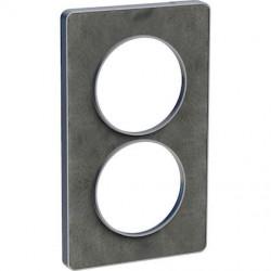Odace Touch, plaque Ardoise avec liseré Alu 2 postes verticaux entraxe 57mm - S530814V