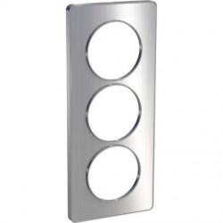 Odace Touch, plaque Aluminium brossé liseré Alu 3 postes verticaux entraxe 57mm - S530816J