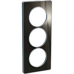 Odace Touch, plaque Aluminium brillant fumé avec liseré Alu 3postes entraxe 57mm - S530816K1
