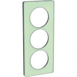Odace Touch - plaque 3 postes - translucide verre avec liseré Alu 57mm vertical - S530816S