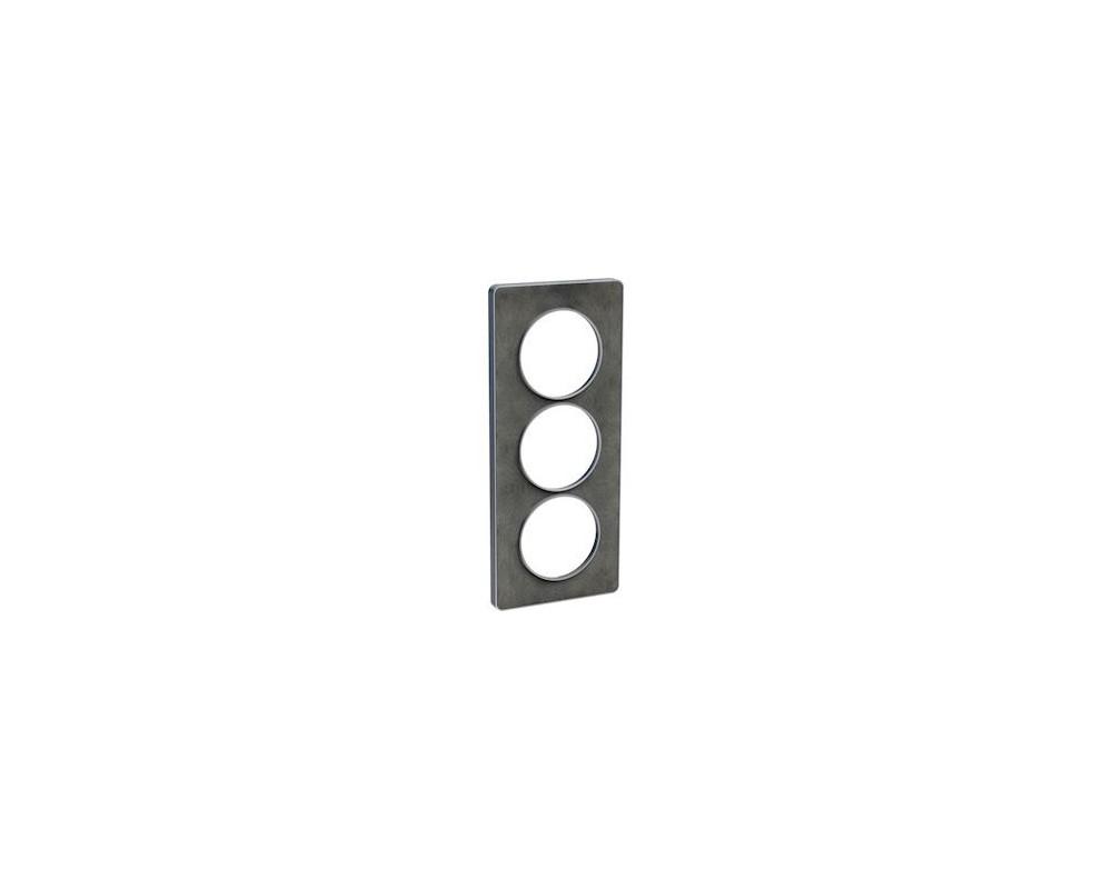 Odace Touch, plaque Ardoise avec liseré Alu 3 postes verticaux entraxe 57mm - S530816V