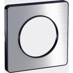 Odace Touch, plaque Aluminium brossé avec liseré Anthracite 1 poste - S540802J