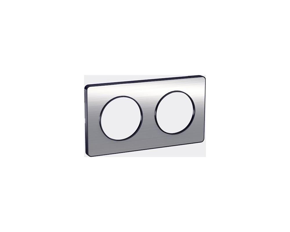 Odace Touch, plaque Aluminium brossé liseré Anth. 2 post. horiz./vert. 71mm - S540804J