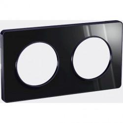 Odace Touch, plaque Miroir brillant fumé avec liseré Anth. 2postes entraxe 71mm - S540804K1
