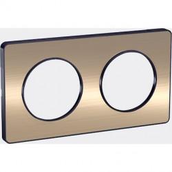 Odace Touch, plaque Bronze brossé liseré Anthracite 2 postes horiz./vert. 71mm - S540804L