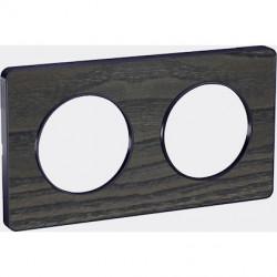 Odace Touch, plaque Bois Frêne liseré Anthracite 2 postes horiz./vert. 71mm - S540804P3