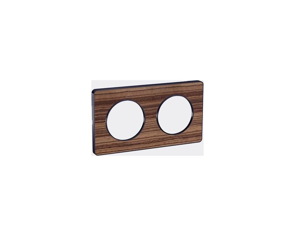 Odace Touch, plaque Bois Zeb. avec liseré Anth. 2 postes horiz/vert entraxe 71mm - S540804P4
