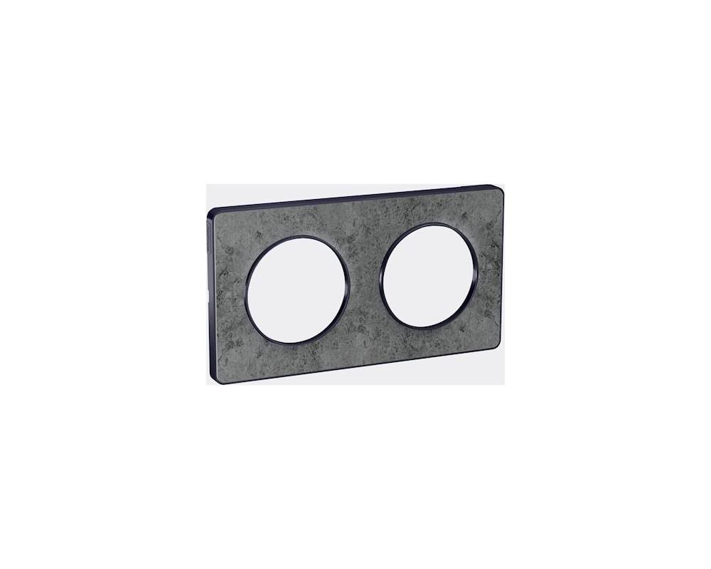 Odace Touch, plaque Pierre Glt avec liseré Anth 2 postes horiz/vert entraxe 71mm - S540804U
