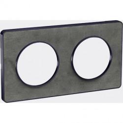 Odace Touch, plaque Ardoise avec liseré Anth. 2 postes horiz/vert. entraxe 71mm - S540804V