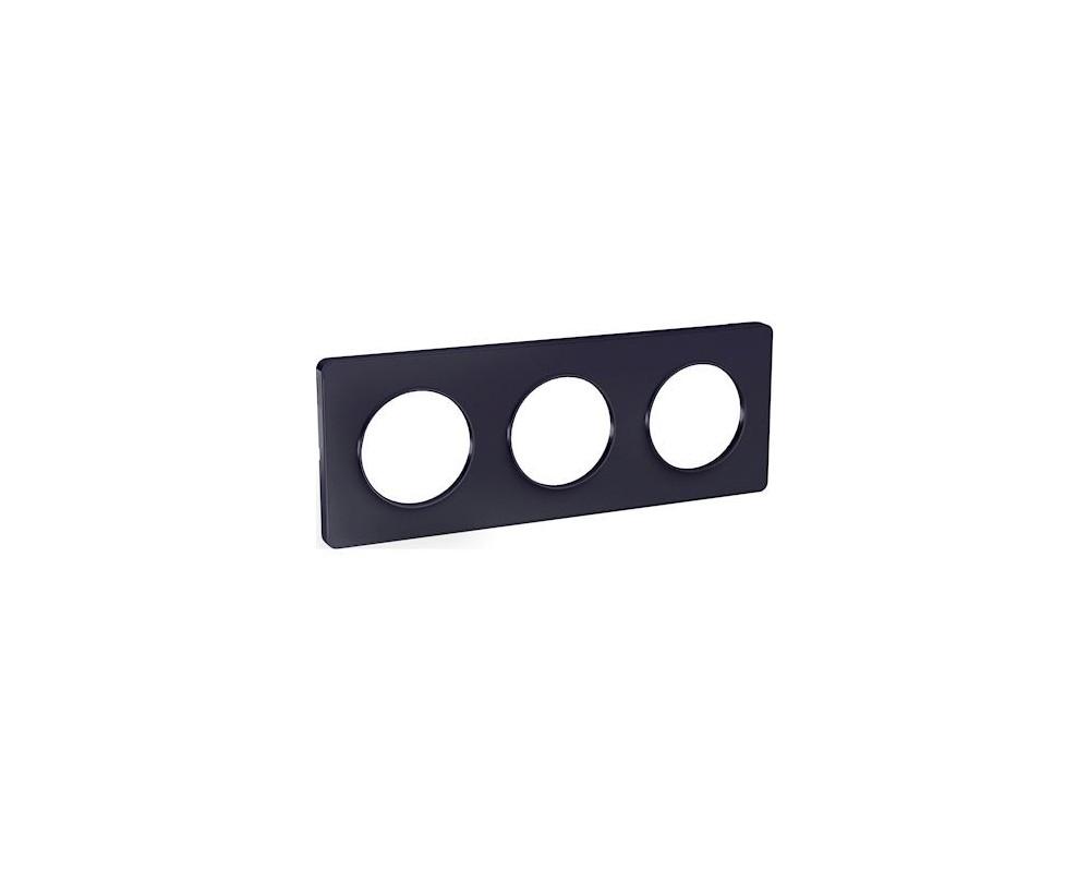 Odace Touch, plaque Anthracite 3 postes horiz. ou vert. entraxe 71mm - S540806